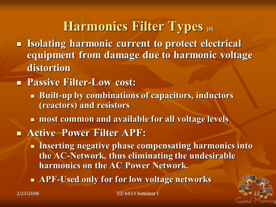 Harmonics Filter Types [6]